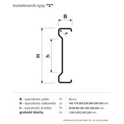 Стандартная высота профиля, ширина полок и толщина стенок.