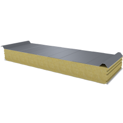 PWD-W - 125 MM, панели крыши, минеральная вата RAL 9006