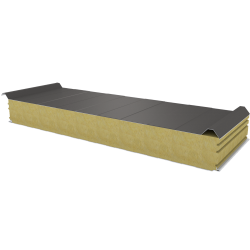 PWD-W - 125 MM, Roof panels, mineral wool RAL 9007